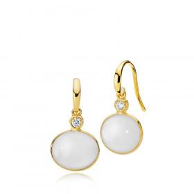 Candy øreringe i guld med hvid calcedon og zirkon fra Izabel Camille.