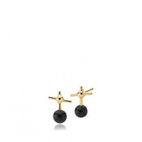 Miss K øreringe i guld med kryds og sort onyx fra Izabel Camille.