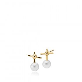 Miss K øreringe i guld med kryds og en hvid shell perle fra Izabel Camille.
