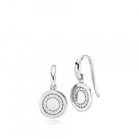 Circle line øreringe i sølv med zirkoner fra Izabel Camille.