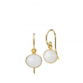 Candy øreringe i guld med hvid calcedon fra Izabel Camille.
