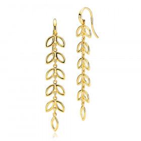 Lange blossom øreringe i guld fra Izabel Camille.