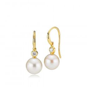 Jackie øreringe i guld med en hvid perle og zirkon fra Izabel Camille.