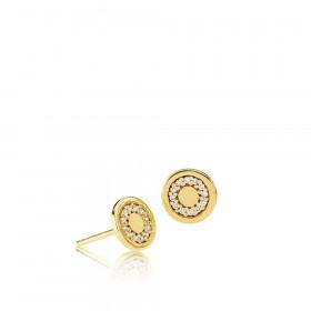 Circle line ørestikker i guld med zirkoner fra Izabel Camille