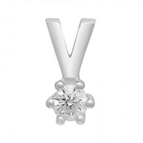 Vedhæng i 14kt hvidguld med en diamant (0.010) fra Siersbøl