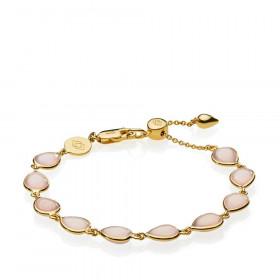 Annabella armbånd i guld med pink calcedoner fra Izabel Camille.