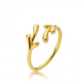 Embrace ring i guld med bladmotiv fra Izabel Camille