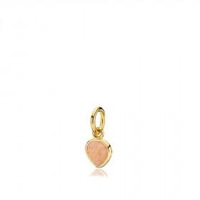 Heartdrop vedhæng i guld med en sten af peach månesten fra Izabel Camille.
