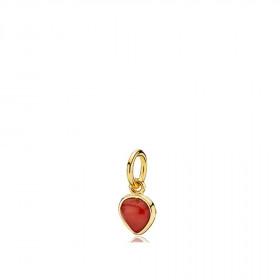 Heartdrop vedhæng i guld med en rød koral fra Izabel Camille.