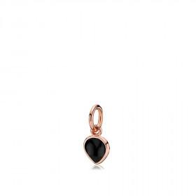 Heartdrop vedhæng i rosa guld med en sort onyx fra Izabel Camille.