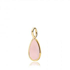 Gem Drop vedhæng i guld med en pink calcedon fra Izabel Camille
