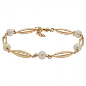 Armbånd i 8kt guld bur og perler fra Siersbøl