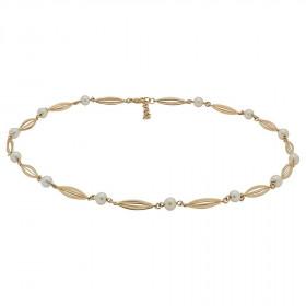 Halskæde i 14kt guld med ''bur'' og perler fra Siersbøl