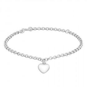 Armbånd i sølv med et hjerte vedhæng fra Siersbøl.