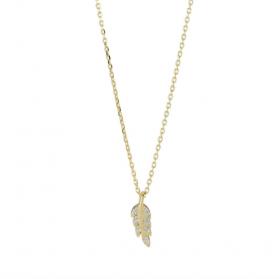 Halskæde i guld med fjer og zirkoner fra Joanli Nor